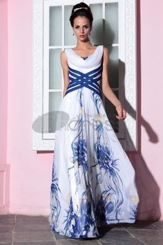 Printed Formal Gowns - Gowns are quickly becoming the choice of Fashionista's. It has attained a standing of fashion dress. Blue And White Evening Dresses, Elegant Prom Dresses, Evening Dresses For Weddings, Chiffon Evening Dresses, Long Summer Dresses, Beautiful Prom Dresses, Long Dresses, Elegant Gowns, Maxi Dresses