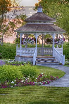 Gazebo at sunrise. Mission Point Resort on Mackinac Island. Photography by: Nick Monsoor Gazebo Plans, Gazebo Ideas, Backyard Gazebo, Pergola, Outdoor Areas, Outdoor Structures, Beautiful Home Gardens, Villa, Brick Architecture