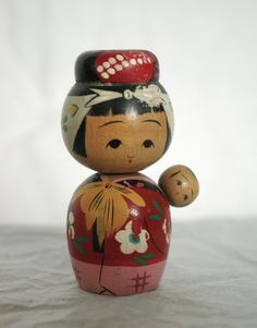 Vintage Babywearing Kokeshi Doll