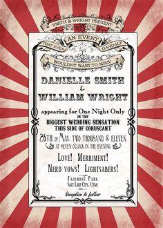 PERFECT!!!!Circus Wedding Invitation Set (Your Personalization). $65.00, via Etsy.