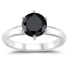 Amazon.com: 1.00 Ct A Round Black Diamond Engagement Ring in Silver: Jewelry