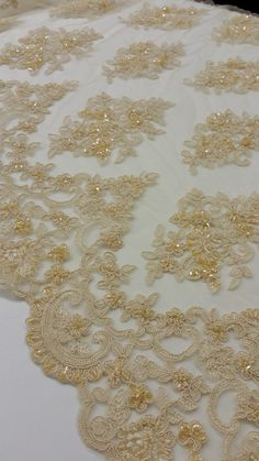 Beige lace fabric by the yard French Lace Alencon by LaceToLove