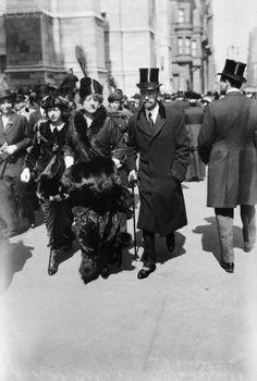 Grace Graham Wilson and Cornelius Vanderbilt 111. Husband and wife strolling in NYC.  Vanderbilt 111 was the son of, Alice and Cornelius Vanderbilt 11, they were members of NYC's Gilded Age Society. ~ {cwl}