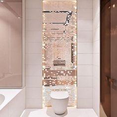 Mosaic Bathroom, Gold Bathroom, Modern Bathroom, Bathroom Design Luxury, Bathroom Design Small, Rose Gold Interior, Art Deco Bedroom, Bathroom Goals, Bathroom Inspiration