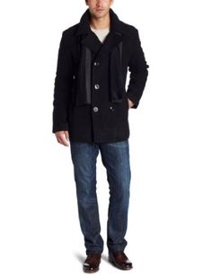 Kenneth Cole Men's Plush Peacoat With Scarf, Black, Medium Kenneth Cole. $74.99