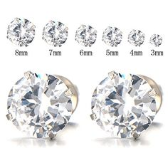 3-8 MM Mens Ladies White Cubic Zirconia Stud Earrings Stainless Steel Screw Back Post, 2pcs *** Continue to the product at the image link.