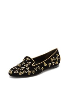Bee Embroidered Low Loafer by Alexander McQueen at Gilt