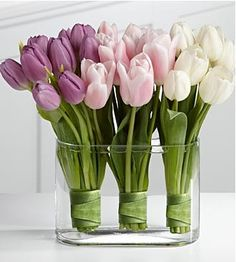 Purple Ombre Tulip Wedding Centerpiece. Amazing and with Tulip's you have such a wide range of colours to choose from