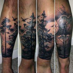 Wateroclor Forest Mens Lower Leg Tattoo Design Ideas