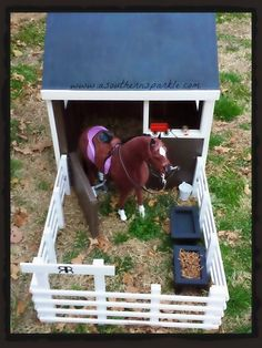 Wooden Horse Barn/Stable and Corral for American Girl  Doll Horse or like size animals and dolls.