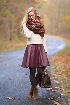 Lauren Conrad for kohls burgundy wine leather circle skirt, leather skater skirt, burgundy red leather skirt, cropped cable sweater, ZARA plaid blanket scarf, brown suede ankle boots, Louis Vuitton totally MM tote