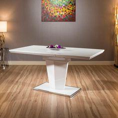 809edde1e3 Modern Extending White Gloss Dining Table Glass Top 1200-1600 x 800mm