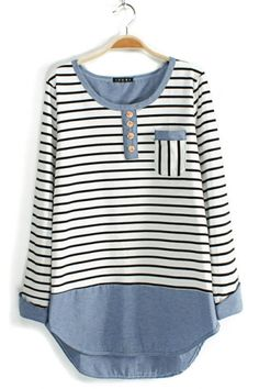 Stripe Colorblock Scoop Neckline Blouse