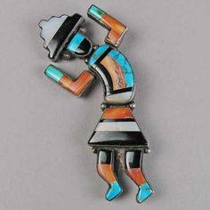 Zuni Inlaid Rainbow God Pin c. 1950
