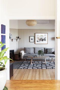 Ivanhoe Project | Samara Greenwood Architecture | Photo by Martina Gemmola Living room, Jardan Errol Sofa, Form Function Style Rug, Tide Coffee Table, Hermon & Hermon Pendant