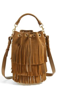Saint Laurent 'Seau' Fringed Suede Bucket Bag available at #Nordstrom