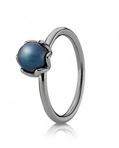 PANDORA Ring - Black Rhodium & Blue Pearl Cultured Elegance