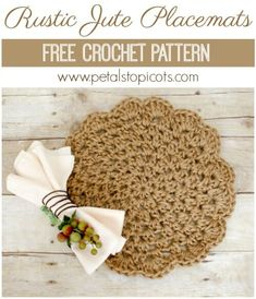 Add a rustic yet chic accent to your table with these pretty jute crochet placemats . make a set for yourself or give as a gift! projects for the home place mats Jute Placemats . Crochet Placemat Patterns, Crochet Dishcloths, Crochet Doilies, Crochet Yarn, Free Crochet, Loom Patterns, Crochet Motif, Crochet Table Runner Pattern, Learn Crochet