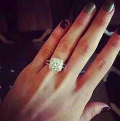 Engagement Ring | 10-carat Ritani cushion french-set diamond halo with vintage split shank band | #Jewelry #Wedding www.ritani.com