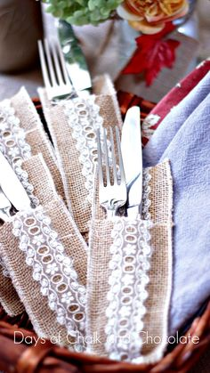 Days of Chalk and Chocolate: Burlap and Lace Fall Silverware Pockets