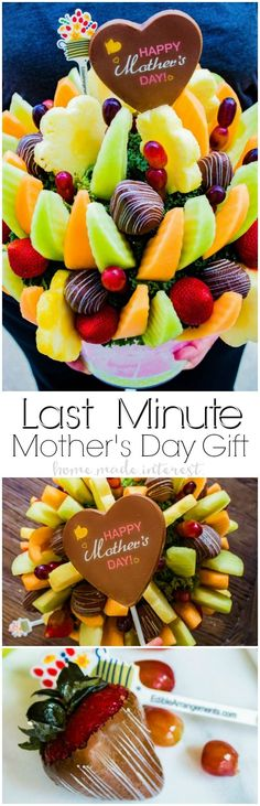 The Best Last Minute Mother's Day Gift | If you're looking for the best Mother's Day gift, a Mother's Day gift that can be delivered at the last minute, then you've got to check out Edible Arrangements! These beautiful gift baskets are filled with fresh fruit that mom will love. Bring one of these gift baskets to a Mother's Day brunch as dessert and make Mother's Day brunch easier for everyone. #ad #EdibleCelebratesMom