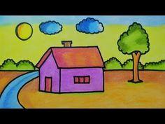 Easy landscape drawing for kids Landscape Drawing For Kids, Nature Drawing For Kids, Easy Scenery Drawing, House Drawing For Kids, Easy Flower Drawings, Easy Landscape Paintings, Easy Drawings For Kids, Landscape Drawings, Art Drawings Sketches Simple