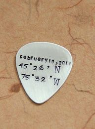 Guitar Picks Personalized - Latitude Longitude Guitar Pick Engagement Gift, Metal Silver Guitar Picks For Him Her, Fathers Day Wedding Gift