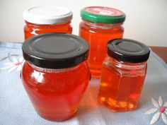 Orange jelly for kids in honey pots