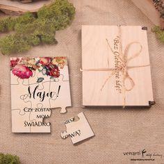 Świadkowanie, puzzle i pudełko drewniane: Czy zostaniesz moim świadkiem?  (Kod: SW001) Zaproszenia drewniane Zaproszenia ślubne -Venarti - Sklep ślubny Słupsk Gift Wrapping, Invitations, Gifts, Wedding, Gift Wrapping Paper, Valentines Day Weddings, Presents, Wrapping Gifts, Weddings
