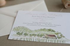 Planning a vineyard wedding? Check out Paper and Thread Illustrated Vineyard save the dates. Come in sets of 25.