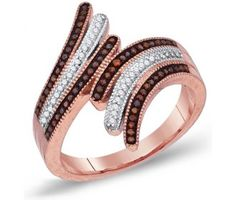 Brown Chocolate Diamond Ring Three Stripe Band 10k Rose Gold (0.25 ct.tw) #Diamond #wedding #Engagement #Band #fashion #Jewelry jeweltie.com