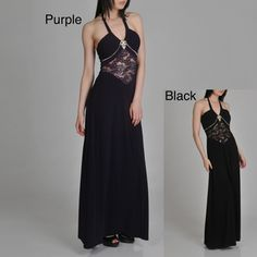 @Overstock - This long evening dress by Janine of London features a tie back halter with a V-neck. This dress is complete with a lace inset bodice with pleats and rhinestone buckle.http://www.overstock.com/Clothing-Shoes/Janine-of-London-Womens-Lace-Inset-Long-Dress/6813543/product.html?CID=214117 $154.69