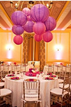 Ceiling Decor Paper Lanterns In Multiples Sizes And Colors