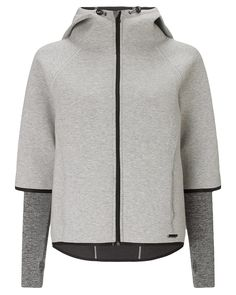 Bonded jersey hooded jacket with neoprene feel. Statement styling includes a  cropped front, dropback 25f9e71b7c80