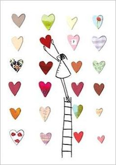 Girl on Ladder with Hearts by Silke LEFFLER