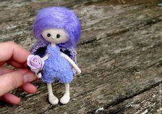 Купить Кнопа Сиреневый Ангел - фиолетовый, вязанная игрушка, маленькая игрушка, ангелочек, ангел ♡ lovely doll