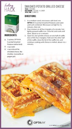 Optavia Hack: Smashed Potato Grilled Cheese - Lean and Green . Medifast Recipes, Low Carb Recipes, Healthy Recipes, Diet Recipes, Lean Recipes, Healthy Food, Recipies, Advocare Recipes, Skinny Recipes