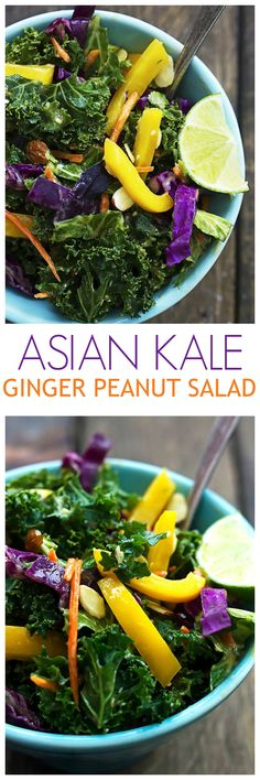 This Asian Kale Salad is so good for you and absolutely delicious! The Thai Peanut Dressing on top is to die for!