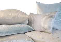 Kevin O'Brien Studio   Metallic Linen Pillows   These radiant linen adds some luster to any room while still maintaining a casual feel. Each pattern is printed by hand with a coordinating metallic pigment. Solid metallic linens with silk velvet tuxedo stripe pair beautifully with our signature velvet collection.  #HPmkt