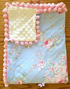 Babydecke - Shabby Chic Blue Floral & Elfenbein Minky - Pink Pom Pom Trim von Sher ...   - Babies & Kiddos    #amp #Babies #Babydecke #Blue #Chic #Elfenbein #Floral #Kiddos #Minky #Pink #Pom #Shabby #Sher #Trim #von<br> Rose Shabby Chic, Shabby Chic Baby Shower, Shabby Chic Decor, Rustic Decor, Quilt Baby, Minky Baby Blanket, Chic Nursery, Nursery Neutral, Diy Bebe