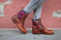Las botas de Antigua: Cuero con cordones botas tobillo botas