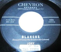 1962 Doo Wop 45 Rpm Joey Of The Royal Teens BLANCHE / THE ORIENTAL On Chevron 500.. The Royal Teens are, by one definition, a hard-luck band. They could play hard and loud, but they also sang well and knew how to harmonize. They were one of the better rock & roll bands of their period, nicely self-contained and with a great beat and hard attack on their instruments, which included sax, electric guitar, and piano. But for all of that, they're virtually a one-hit
