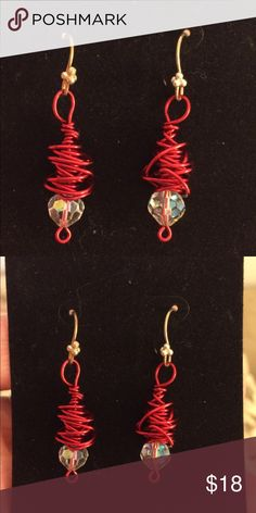 Handmade By Me Wire Wrapped Earrings This is a beautiful pair of handmade wire wrapped earrings using a lovely Red high quality wire.  A bit of BLING with the added crystal bead at the bottom.  Feel free to ask any question about this closet item. 🌹MAKE AN OFFER🌹. You will love them! Jewelry Earrings