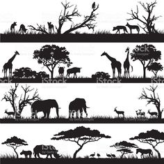 African safari silhouettes royalty-free stock vector art