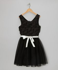 Take a look at this Black & Ivory Lace & Tulle Flower Dress by Speechless on #zulily today!