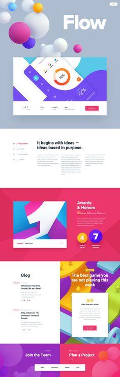 Flow Design Studio - colorful Ui design concept by Mike Web Design Mobile, Web Ui Design, Web Design Trends, Branding Design, Interface Web, User Interface Design, Pop Design, Web Layout, Layout Design