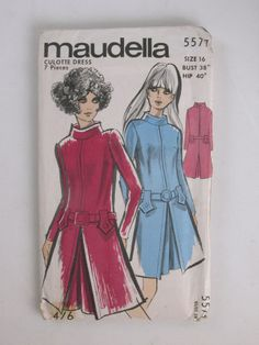Maudella 5577 - size 16 bust 38, hip 40 - culotte dress - 7 pieces. Printed paper sleeve containing thin paper pattern for dress.