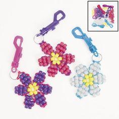 Pony Bead Flower Key Chain