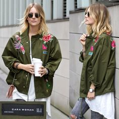 NWT Sold out ZARA Floral Embroidered Patches Parka Jacket Coat KHAKI SZ L