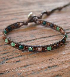 Jade mix Single Wrap bracelet with Seed beaded